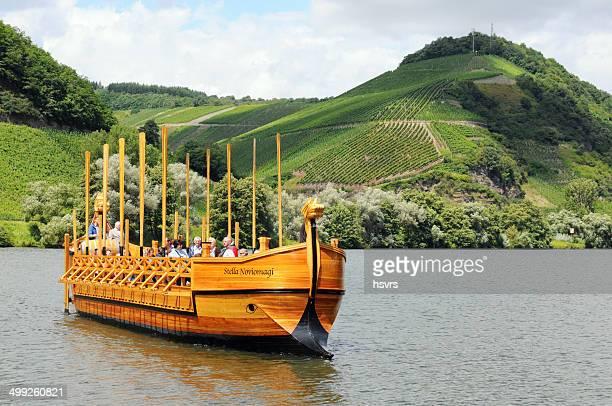 wooden roman ship reconstruction at neumagen (germany) - moselle stockfoto's en -beelden