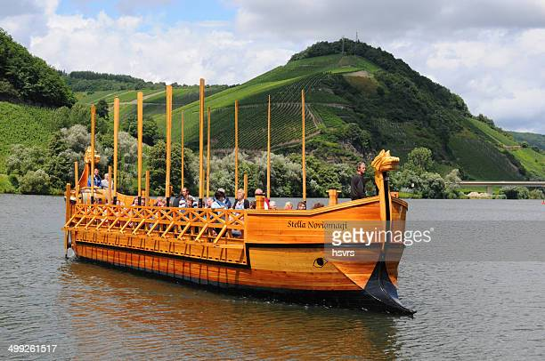 wooden roman ship reconstruction at neumagen (germany) - moselle france stock pictures, royalty-free photos & images