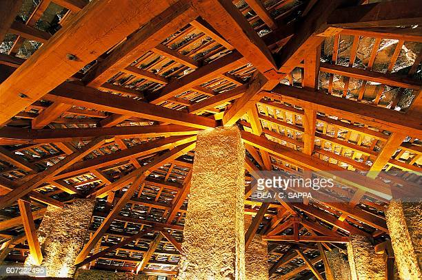 Wooden roof beams Exilles Fort Susa Valley Piedmont Italy 14th19th century