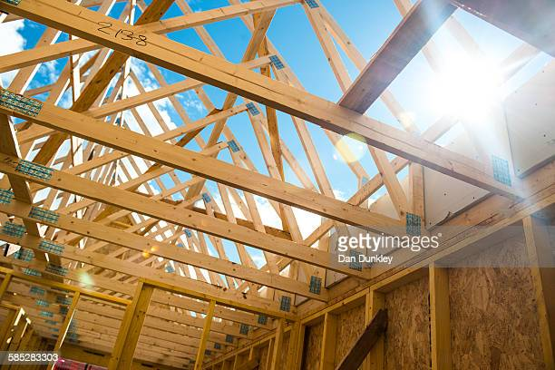 Wooden roof framing truss