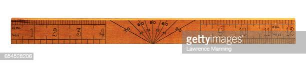 wooden ruler with a protractor - ruler stock photos and pictures