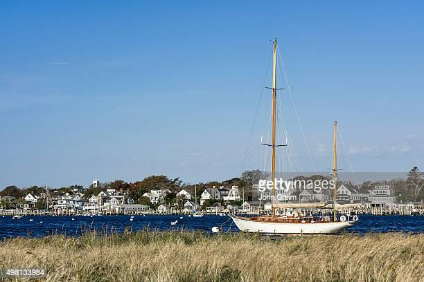 S VINEYARD EDGARTOWN MASSACHUSETTS UNITED STATES Wooden sailboat in Edgartown harbor