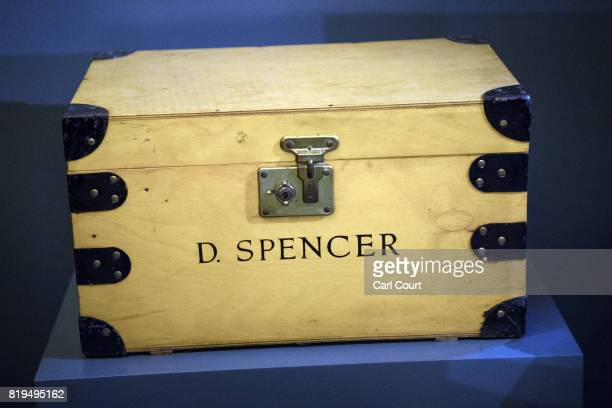 A wooden school tuck box bearing the name 'D Spencer' is and used by Princess Diana is displayed at the Royal Gifts exhibition at this year's Summer...