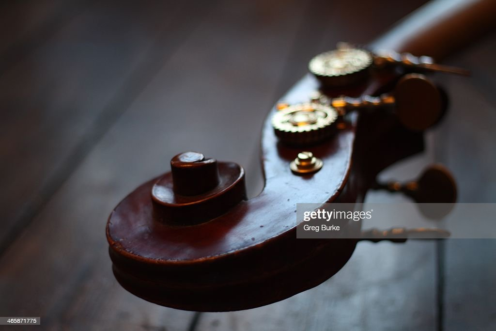 Wooden scroll on a double bass : Stock Photo