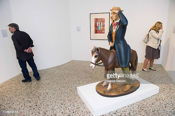 Wooden sculpture Buster Keaton by Jeff Koons at the press preview of Ileana Sonnabend Un Ritratto Italiano on May 28 2011 in Venice Italy The An...