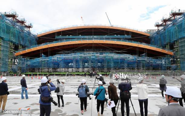 A wooden section of the roof of the Ariake gymnastics arena is installed on November 7 2018 in Tokyo Japan The nearly 70meterlong central section of...