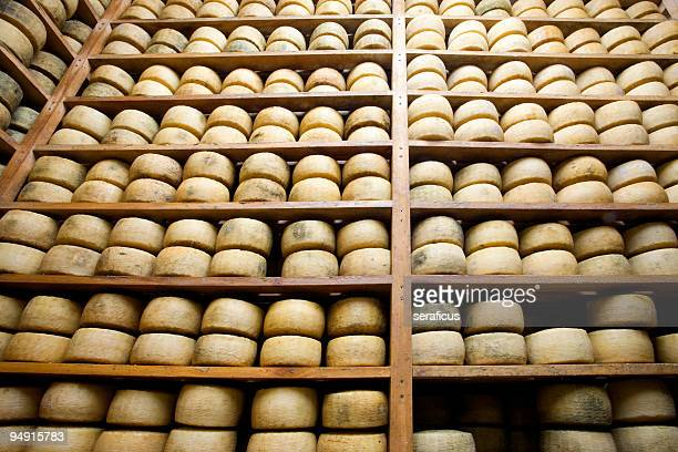 Wooden shelves of aging wheels of cheese