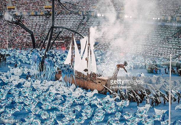 A wooden ship battles sea monsters during the Opening Ceremony of the XXV Olympiad at the Montjuic Olympic Stadium in Barcelona Spain on July 25 1992