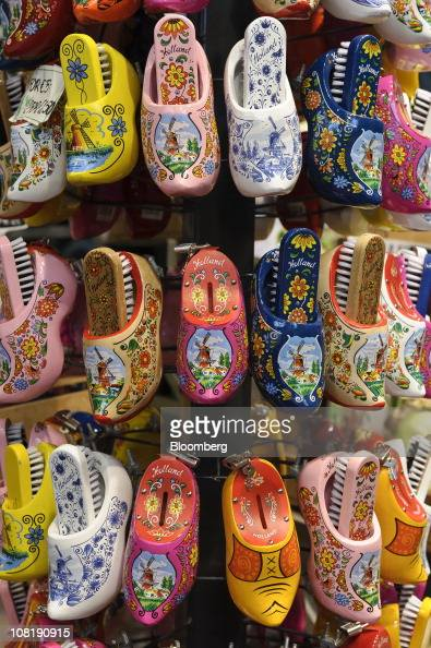 Wooden Shoes Or Clogs Sit On Display At A Store In Amsterdam