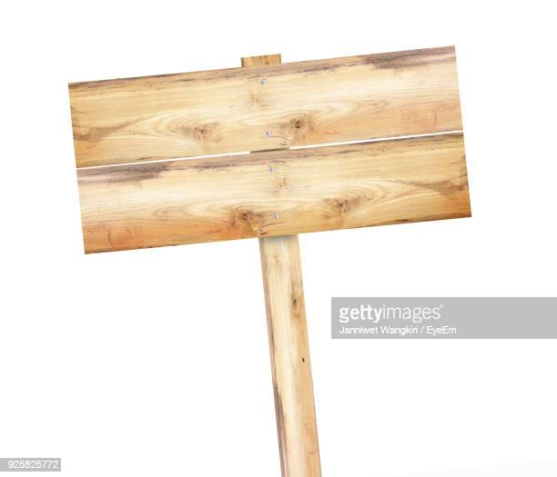 Wooden Sign Board Against White Background