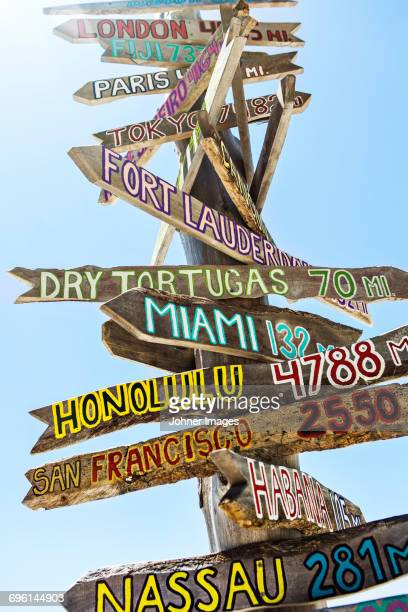 wooden signs - key west stock photos and pictures