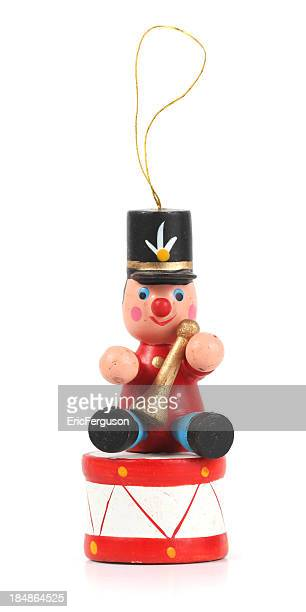 Wooden Soldier and Drum Christmas Ornament on white.