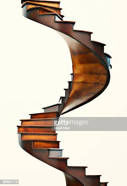wooden spiral stair case
