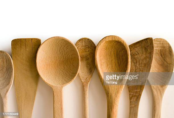 Wooden Spoon and Spatula Kitchen Utensils Frame Border on White