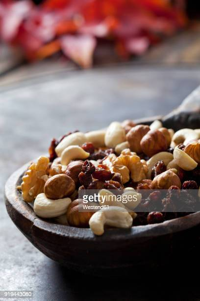 Wooden spoon of trail mix, close-up