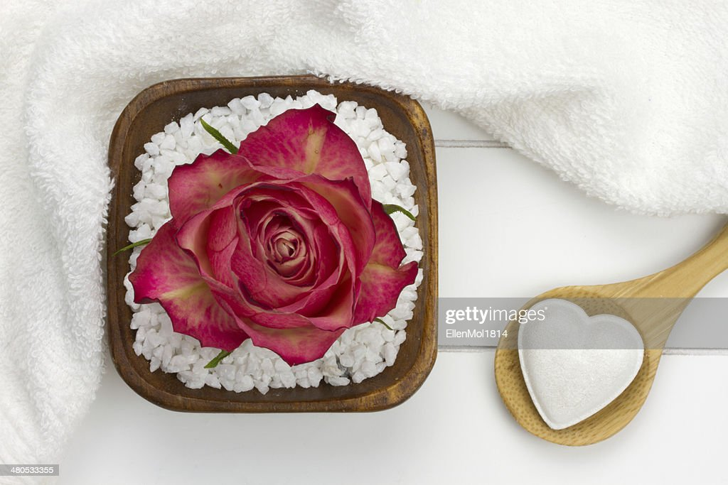 wooden spoon with heart shaped bath fizzer : Stock Photo