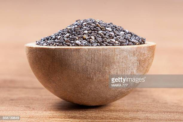 Wooden spoon with seeds of Chia (Salvia hispanica)