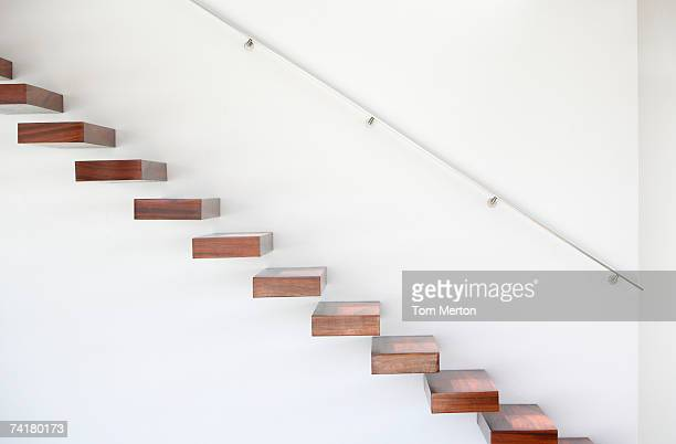wooden staircase and handrail - staircase stock pictures, royalty-free photos & images