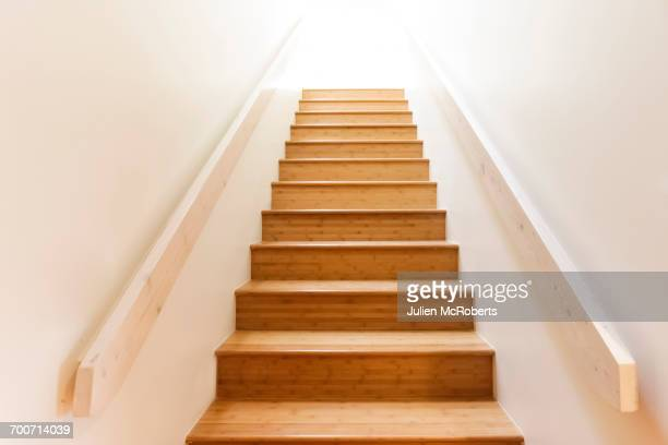 Wooden staircase and railing