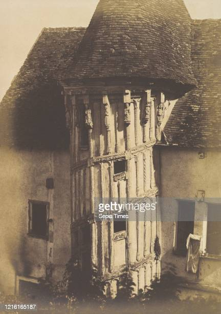 Wooden Staircase at Chartres Salted paper print from paper negative Mount 19 13/16 in _ 13 7/8 in Photographs HenriJeanLouis Le Secq Henri Le Secq...