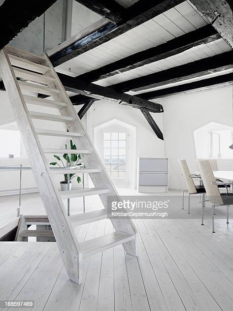 Wooden staircase in loft of old windmill