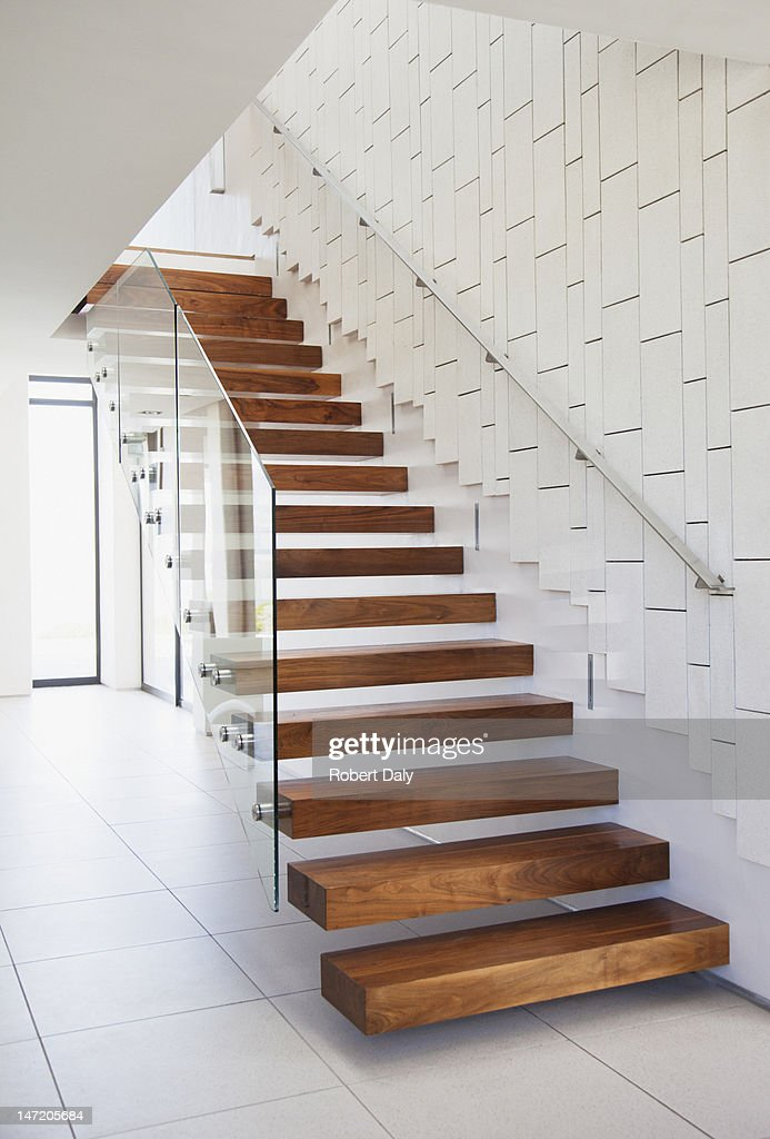 Wooden stairs in modern house : Stock Photo
