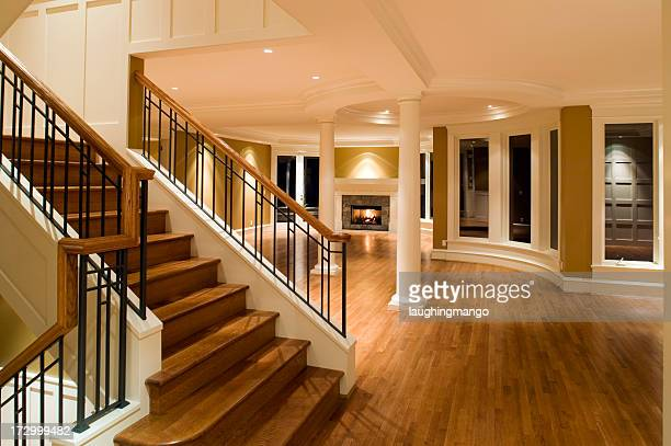 wooden stairs wood floor living room luxury home