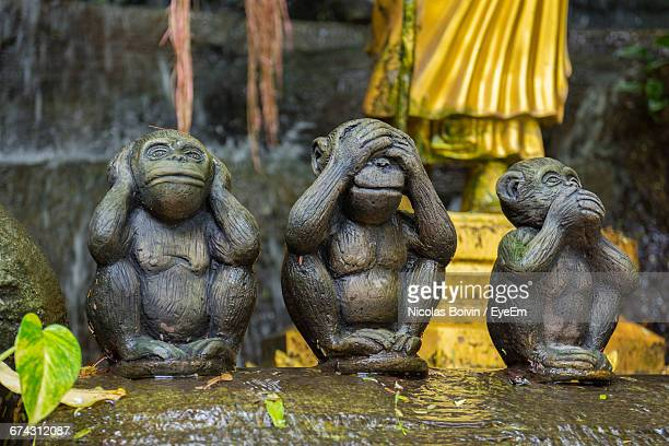 wooden statue of monkey in garden - see no evil hear no evil speak no evil stock pictures, royalty-free photos & images