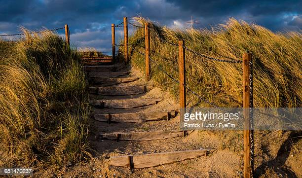 Wooden Steps On Sand Amidst Grass Against Cloudy Sky