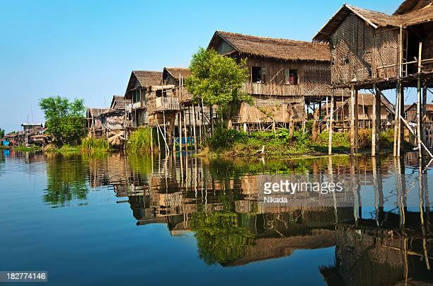 wooden stilt houses in asia - yangon stock pictures, royalty-free photos & images