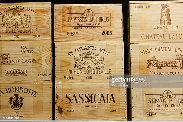 Wooden storage boxes of expensive and valuable wine
