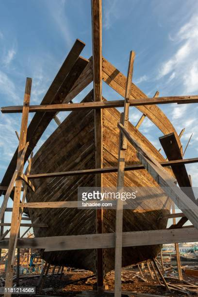 wooden structure for making a ship front view - foundation make up stock pictures, royalty-free photos & images