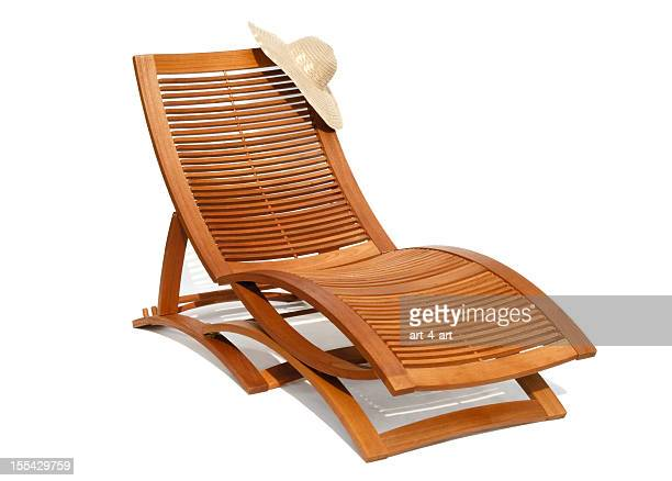 wooden sunbead on white background - outdoor chair stock pictures, royalty-free photos & images
