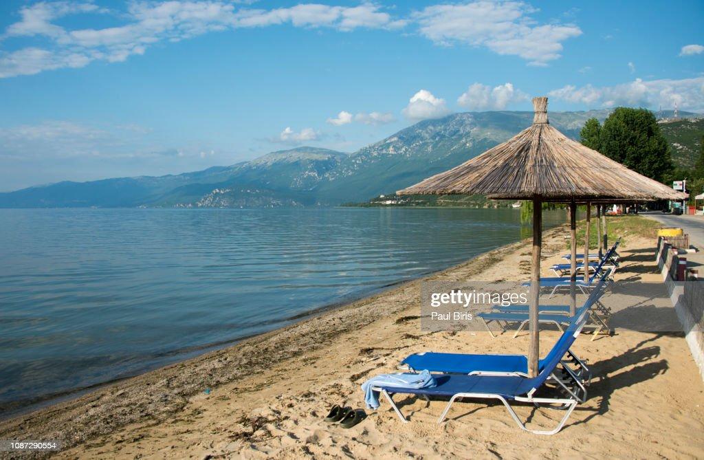 Wooden Sunshades On The Shore Lake Ohrid Pogradec Albania High-Res ...