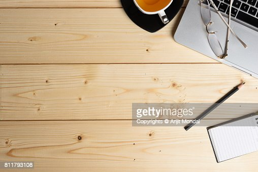 Wooden Surface Diy Table Top View With Office Articles