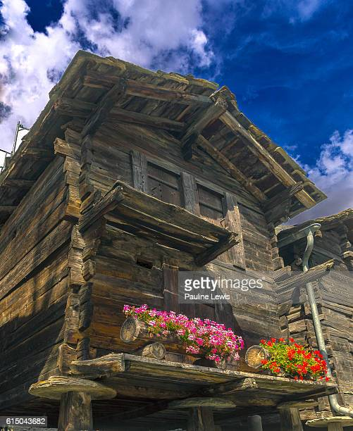 wooden, swiss houses - valais canton stock pictures, royalty-free photos & images