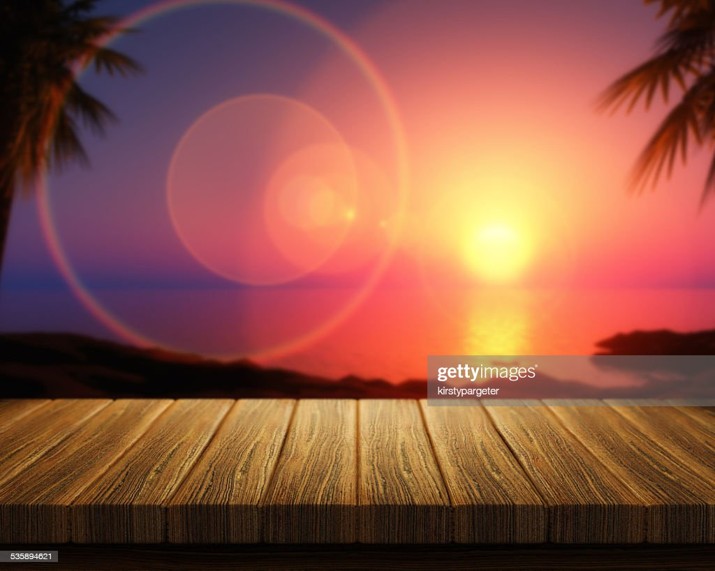 Wooden table with room interior in background : Stock Photo