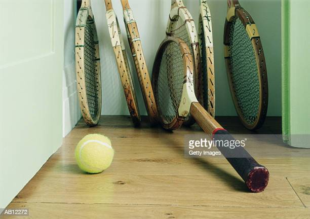 Wooden tennis rackets with ball