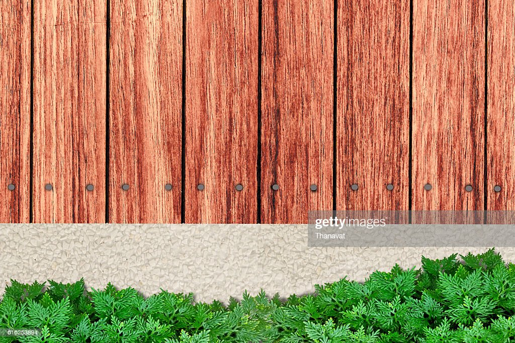 wooden terrace and Garden in vertical top view : Stock Photo