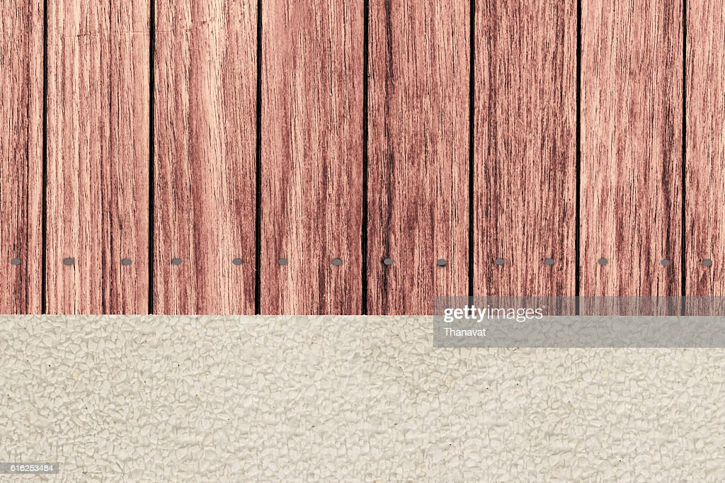 wooden terrace and gravel Garden in vertical top view : Foto de stock