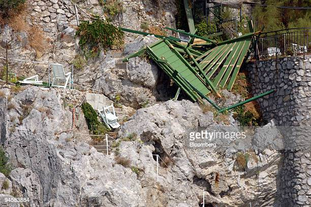 A wooden terrace at Conca dei Marini on the Amalfi coast which collapsed on August 18 killing one and injuring 8 is pointed out by Captain Alessandro...