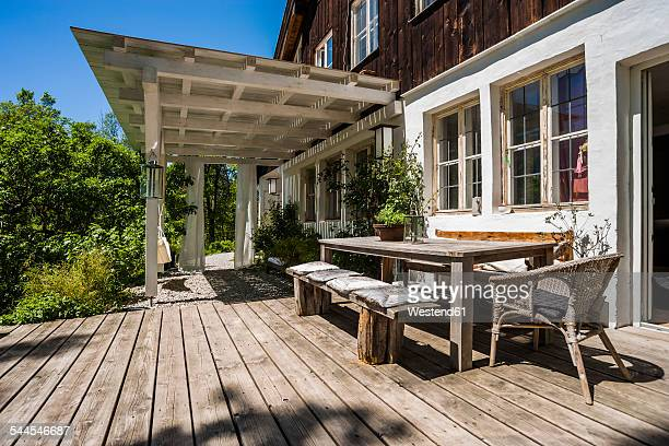 Wooden terrace in sunlight