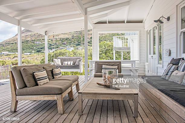 wooden terrace - patio stock pictures, royalty-free photos & images
