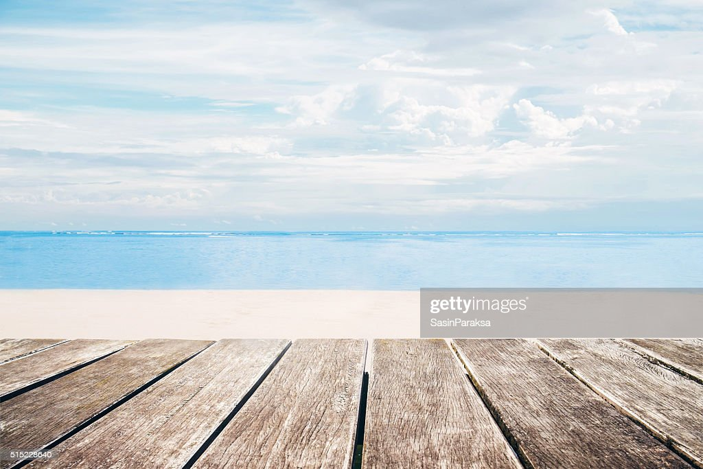 Wooden Terrace With The Beach View In Summer ...