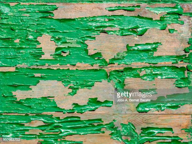 Wooden texture detail ancient outdoors with green painting, full frame. High resolution photography.