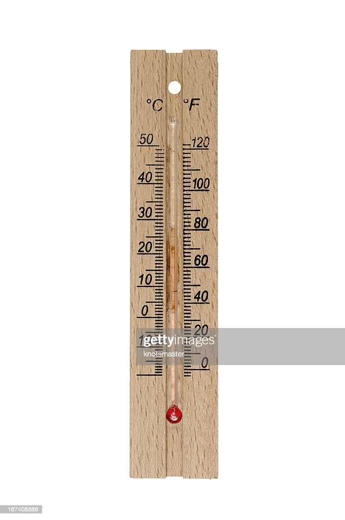 Wooden thermometer : Stock Photo