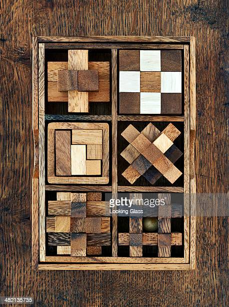 Wooden toy blocks in box