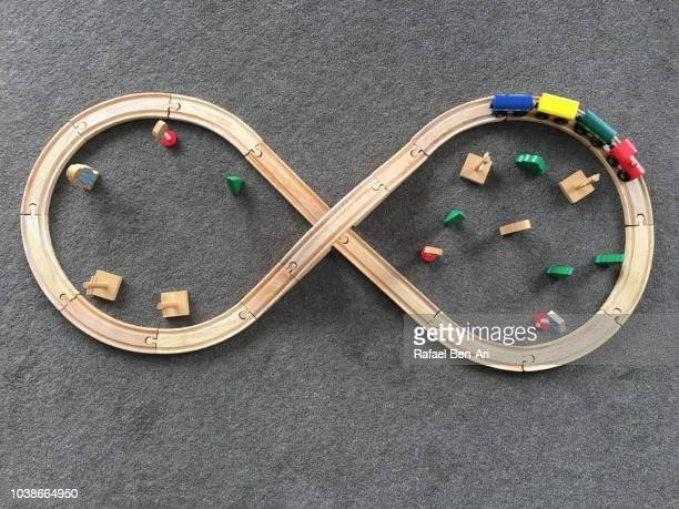 wooden toy tain railways falt lay view - rafael ben ari stock pictures, royalty-free photos & images