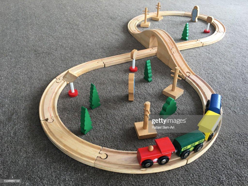 Wooden Toy Tain Railways : Stock Photo
