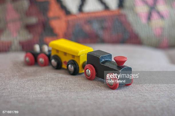 wooden toy train - dorte fjalland stock pictures, royalty-free photos & images